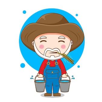 Desenho de velho fazendeiro com balde
