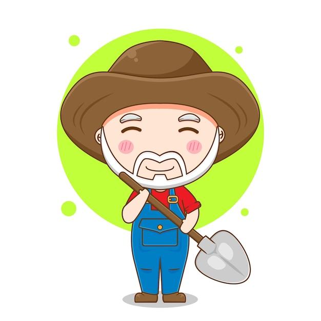 Desenho de velho fazendeiro com pá