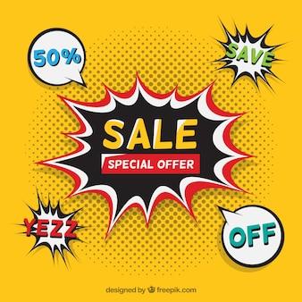 Desenho de venda flash amarelo em estilo cômico