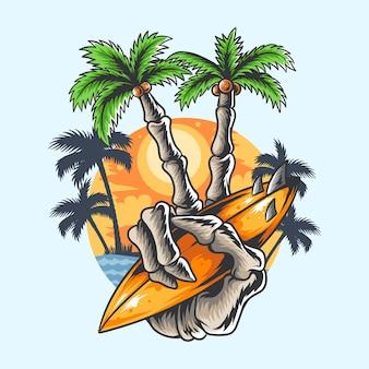 Desenho de verão mão crânio coqueiro dedo segurando arte de camiseta de prancha de surf de praia