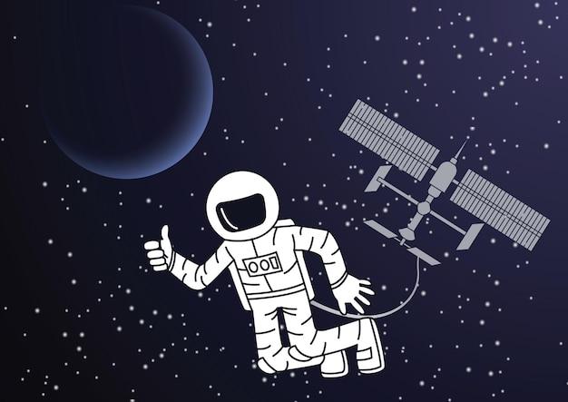 Desenho de versão de desenho animado de astronauta e estação espacial fora do mundo