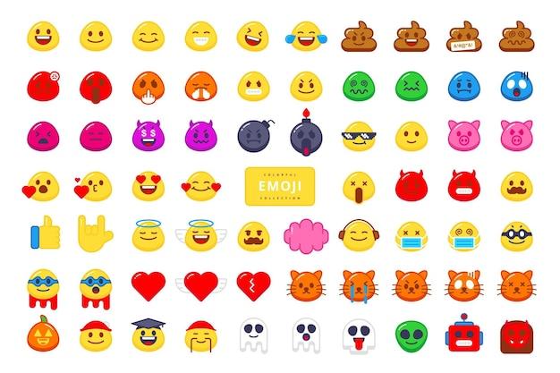 Desenho de vetor de coleção de personagens emoji fofos