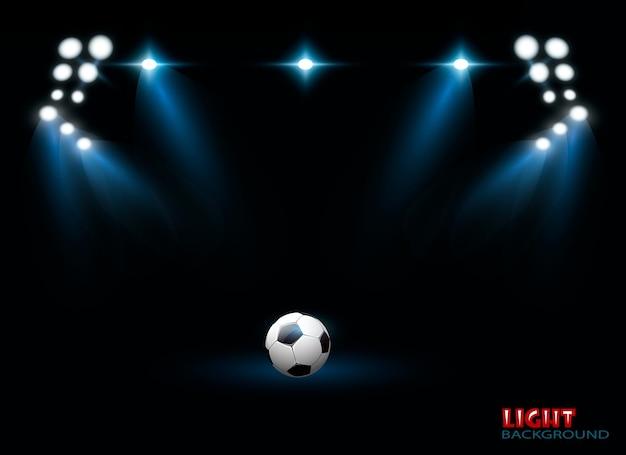 Desenho de vetor de luzes de arena de estádio brilhante.