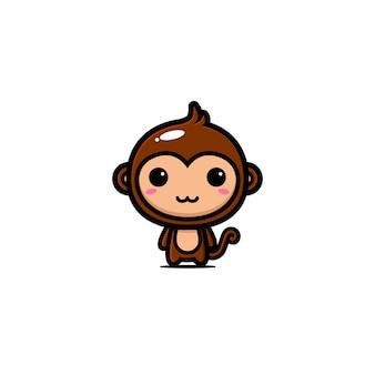 Desenho de vetor de mascote de macaco fofo