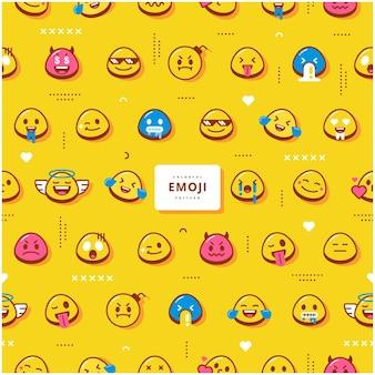 Desenho de vetor de padrão emoji fofo