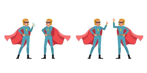 Desenho de vetor de personagem de mulher super-herói. apresentação em várias ações. no2