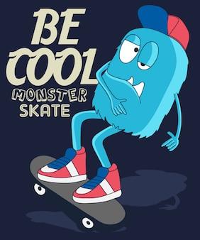 Desenho de vetor de skate de monstro