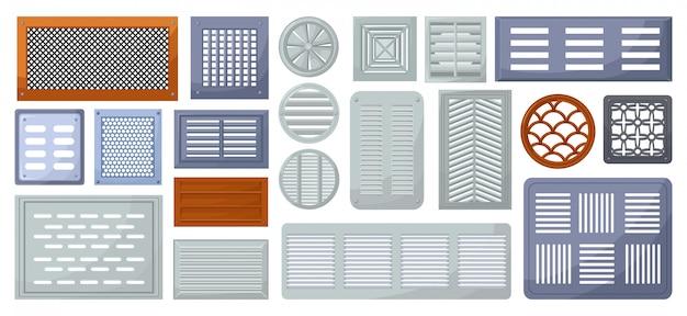 Desenho de vetor de ventilação de ar definir ícone.