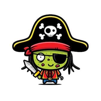 Desenho de vetor fofo pirata zumbi