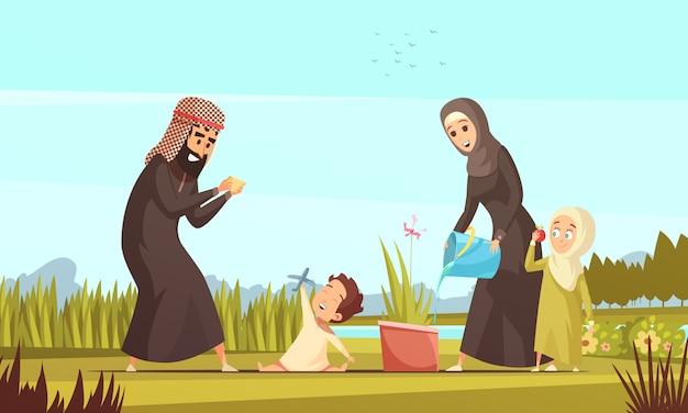 Desenho de vida familiar árabe