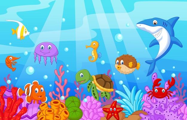 Desenho de vida marinha com conjunto de coleta de peixe