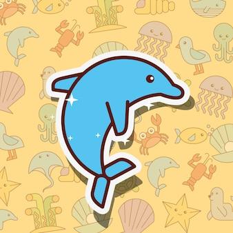 Desenho de vida marinha de golfinho cetáceo