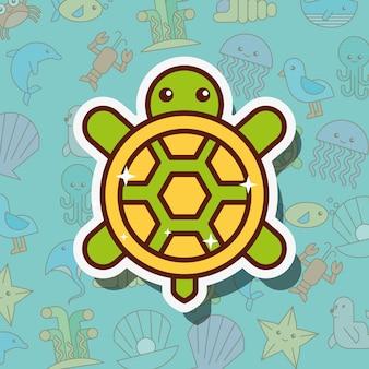 Desenho de vida marinha de tartaruga