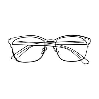 Desenho de vidros ópticos. óculos com lentes transparentes com braços cruzados. desenhado à mão preto e branco