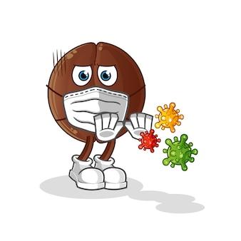 Desenho de vírus de rejeição de grãos de café. mascote dos desenhos animados