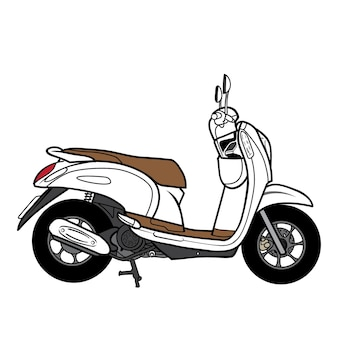 Desenho de vista lateral de motocicleta de scooter
