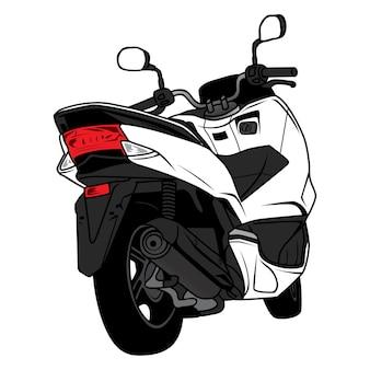 Desenho de vista traseira de motocicleta de scooter