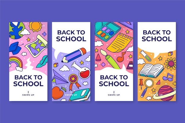 Desenho de volta à coleção de histórias do instagram da escola