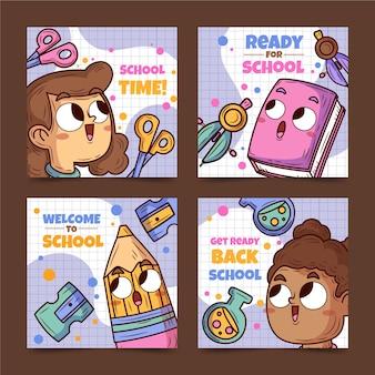 Desenho de volta à coleção de postagens do instagram da escola