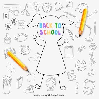 Desenho de volta ao fundo da escola