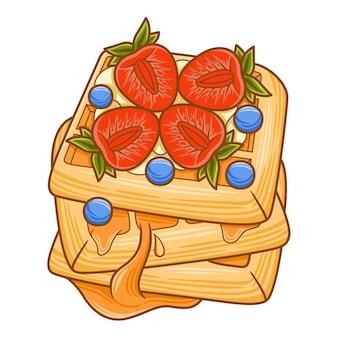 Desenho de waffles para ilustração de café ou restaurante