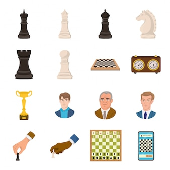 Desenho de xadrez definir ícone. jogos . desenho animado conjunto xadrez ícone.