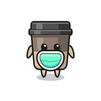 Desenho de xícara de café fofo usando uma máscara, design de estilo fofo para camiseta, adesivo, elemento de logotipo