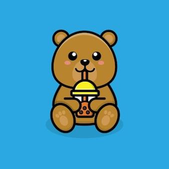 Desenho de xícara de chá de bolha de boba de urso fofo