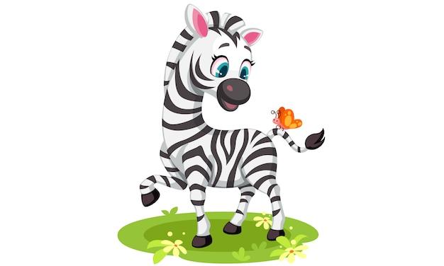 Desenho de zebra bebê brincando com borboleta