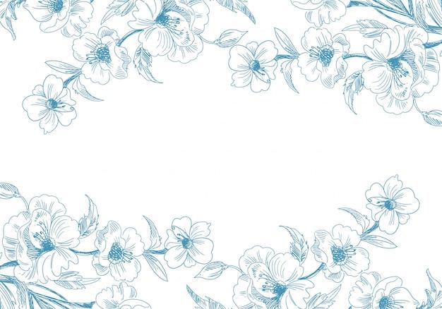 Desenho decorativo artístico com fundo floral