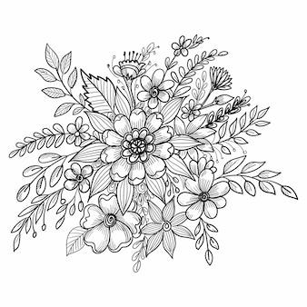 Desenho decorativo de bela composição floral