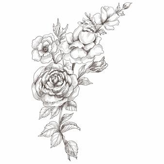 Desenho decorativo de composição floral