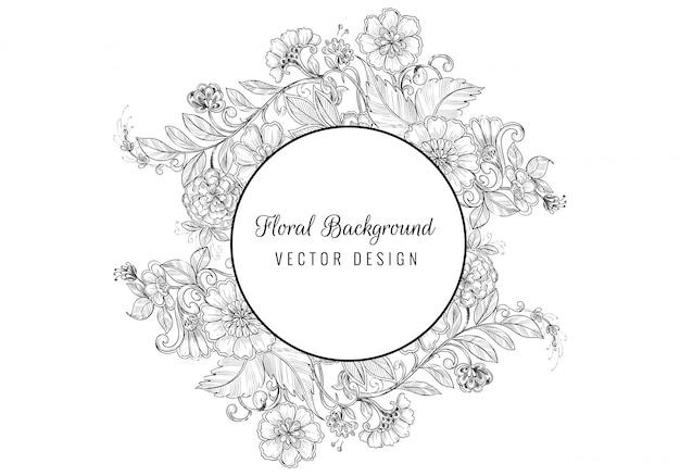 Desenho decorativo vintage artístico casamento fundo floral