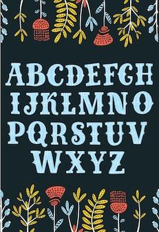 Desenho decorativo vintage texturizado fonte abc lettersnice para seu projeto