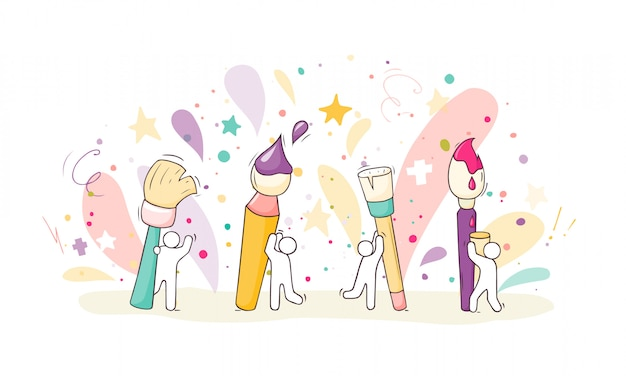 Desenho definido com pessoas e pincéis.