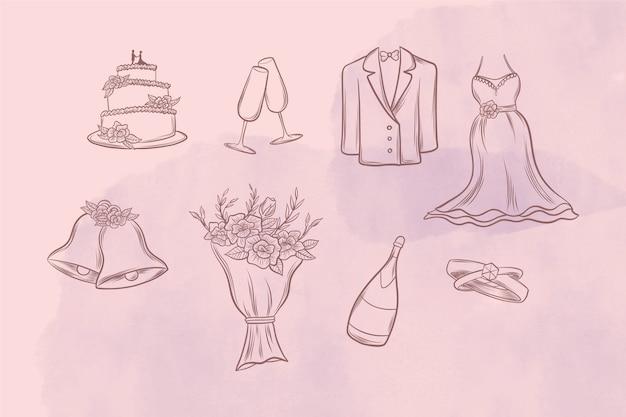 Desenho descritivo de ícones de casamento