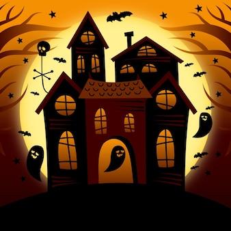 Desenho desenhado à mão casa de halloween