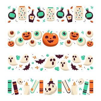 Desenho desenhado à mão coleção de bordas de halloween