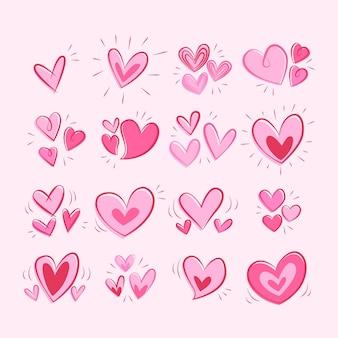 Desenho desenhado à mão coleção de coração