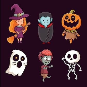Desenho desenhado à mão coleção de personagens de halloween