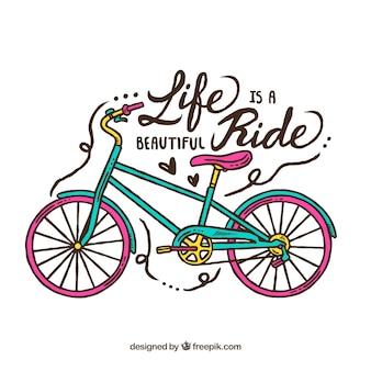 Desenho desenhado à mão com bicicleta colorida