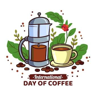 Desenho desenhado à mão dia internacional do café