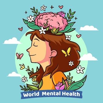 Desenho desenhado à mão dia mundial da saúde mental