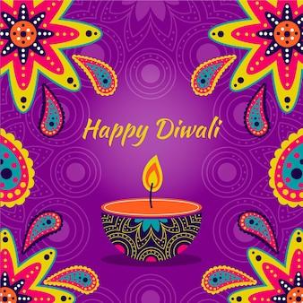 Desenho desenhado à mão diwali com vela