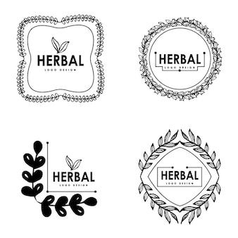 Desenho desenhado à mão do logotipo das ervas