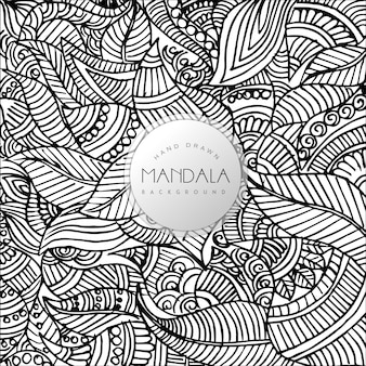Desenho desenhado à mão em preto e branco fundo de padrão de mandala floral