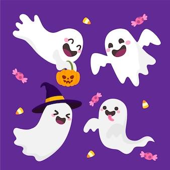Desenho desenhado à mão fantasmas de halloween