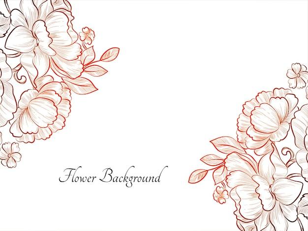 Desenho desenhado à mão fundo de flor de cor vermelha