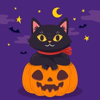 Desenho desenhado à mão gato de halloween