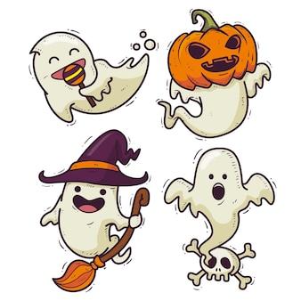Desenho desenhado à mão pacote fantasma de halloween